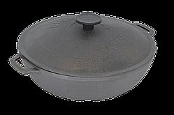 Сковорода чугунная жаровня Биол с чугунной крышкой 28 см 03283