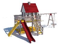 Детский комплекс Домик Принцессы (горка 1,5 м) Kidigo