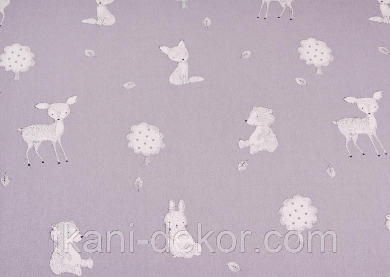 Сатин (хлопковая ткань) на сиреневом лесные звери (65*160)