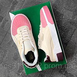 Женские кроссовки Puma Cali White (бело-розовые)