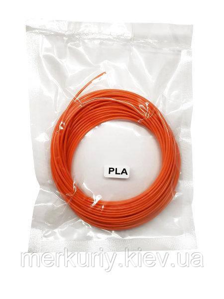 Нитка PLA пластику для 3Д ручки 10м, стрижень для 3D ручки помаранчевий