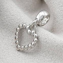 Серебряный шарм Сердце размер 20х11 мм вес 1.1 г