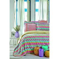 Набор постельное белье с покрывалом Karaca Home - Mood Prime Zigzag 2020-2 полуторный