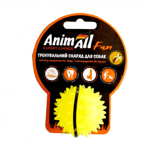 Игрушка AnimAll Fun мяч каштан для собак, 5 см, желтая