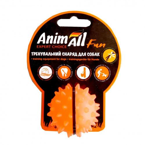 Игрушка AnimAll Fun мяч каштан для собак, 5 см, оранжевая