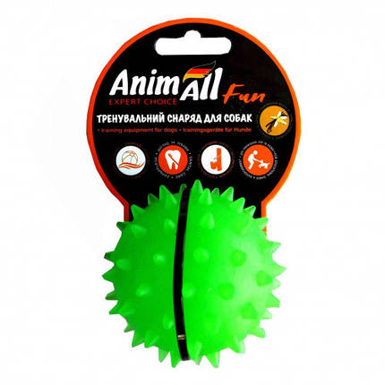 Игрушка AnimAll Fun мяч каштан для собак, 7 см, зеленая, фото 2