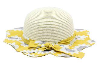 Детская летная пляжная шляпа от солнца для девочки светло-бежевого цвета и желтыми полями с цветами 21588
