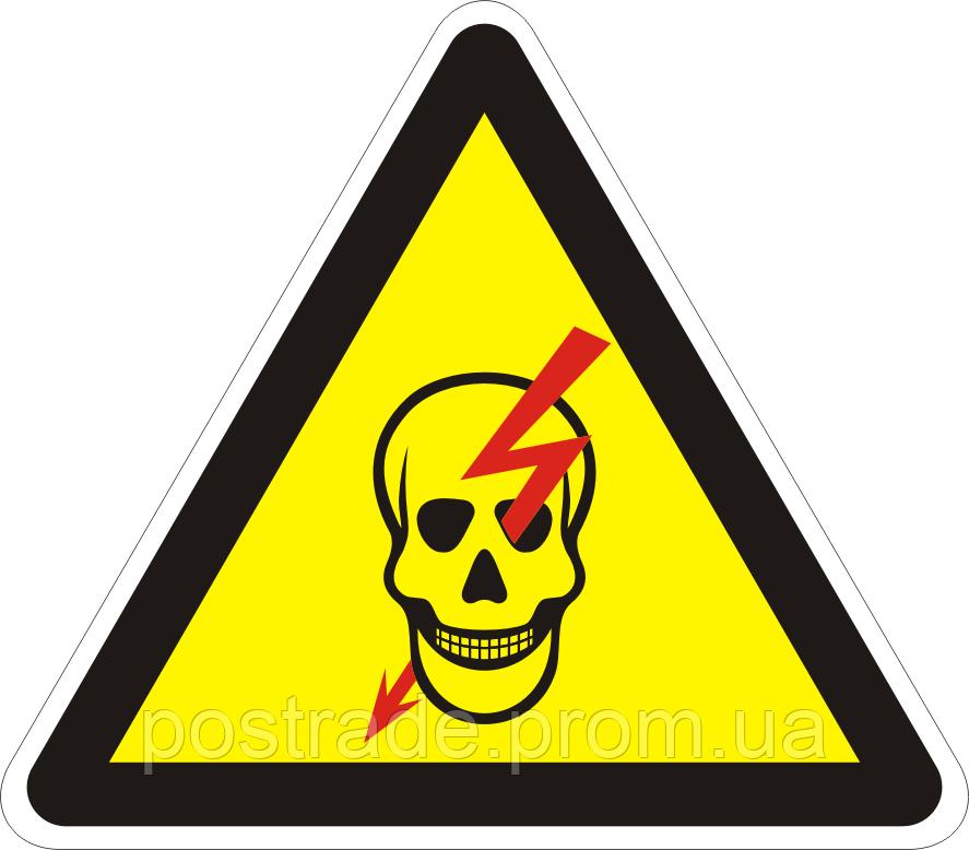 "Наклейка ""Обережно! Електрична напруга (череп)"""