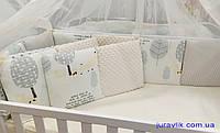 Бортики в детскую кроватку Лисичка желтая