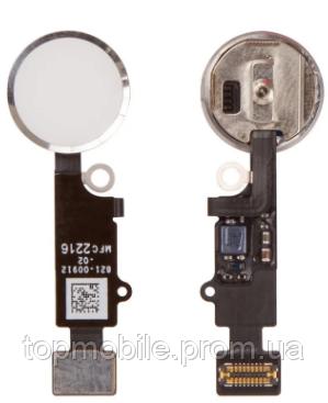 Шлейф для iPhone 7/7 Plus, с кнопкой меню (Home) и белой пластиковой накладкой, оригинал (Китай), с разборки