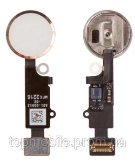 Шлейф для iPhone 7/7 Plus, с кнопкой меню (Home) и золотистой пластиковой накладкой, оригинал (Китай), с разбо
