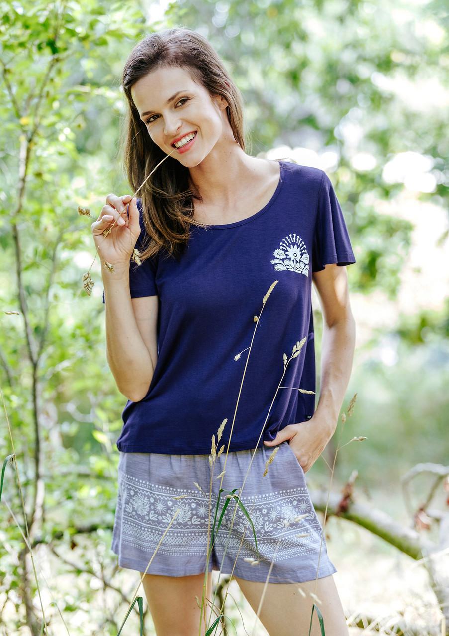 Стильна літня піжама з шортами та футболкою Key LNS 576
