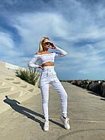 Женский летний белый спортивный костюм с топом и штанами, Белый женский спортивный костюм, Спортивный костюм летний белый., фото 2