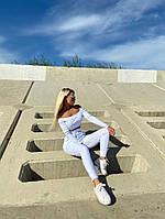 Женский летний белый спортивный костюм с топом и штанами, Белый женский спортивный костюм, Спортивный костюм летний белый., фото 3