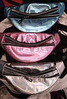 Модные сумки бананки на пояс на 2отд. (3 цветас голограммой)16*34см, фото 1
