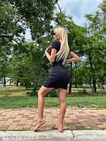 Платье которое облегающее, Платье черное короткое приталенное,  Красивое короткое черное платье,  Платье мерное мини женское., фото 4