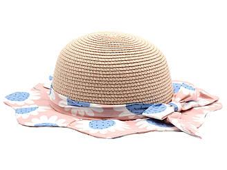 Детская летная пляжная шляпа от солнца для девочки пудрового цвета и розовыми полями с цветами 21587