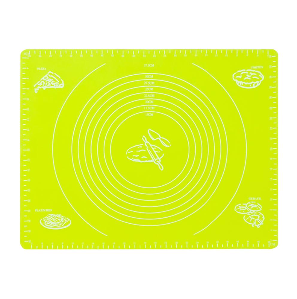 Силіконовий килимок для розкочування тіста і випічки 49х40см, салатовий (СК-024-1)