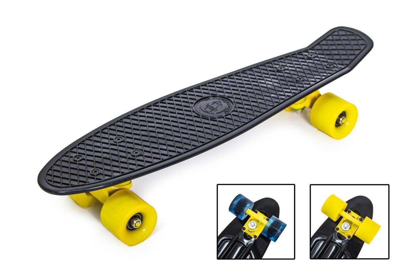 """Скейт """"Penny Board"""" """"Fish"""" Черный цвет. Матовые колеса"""