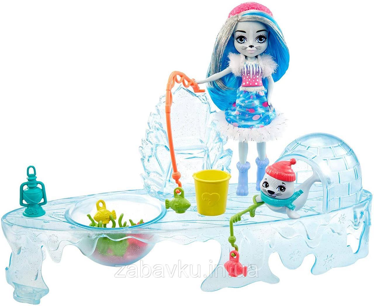 Enchantimals Fishing Friends Sashay Seal Энчантималс набор зимняя рыбалка кукла Тюлень Енчантімалс
