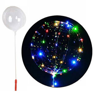 5x Шарик воздушный надувной круглый светящийся с LED-подсветкой, 50см