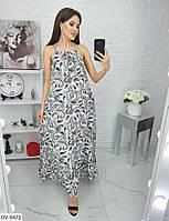 Длинное женское платье в пол на лето с завязками на шее арт 4009