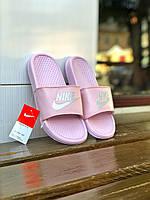 Шлепки тапки женские летние стильные качественные модные розовые Найк Benassi, фото 1