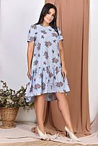 """Свободное асимметричное платье """"ЦВЕТОЧЕК"""" с вырезом на спине (большие размеры), фото 2"""