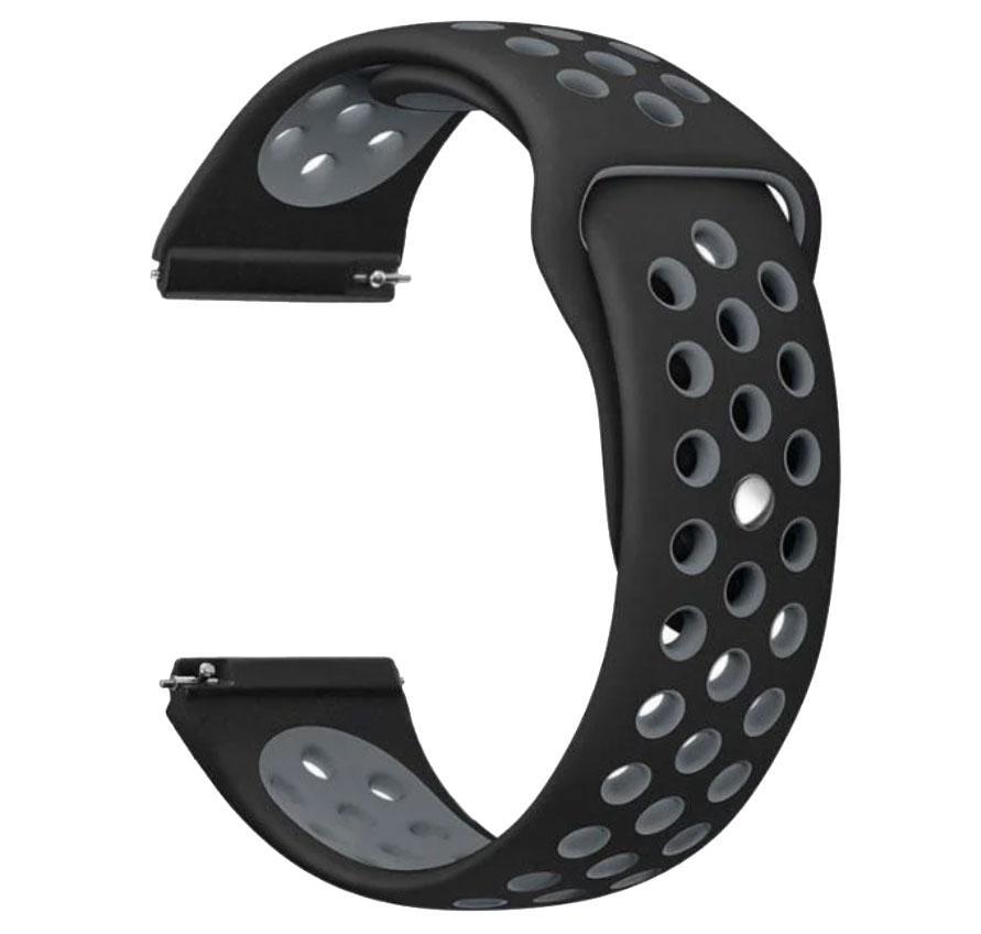 Спортивный ремешок Primolux Perfor Sport с перфорацией для часов Samsung Galaxy Watch 46mm - Black&Grey