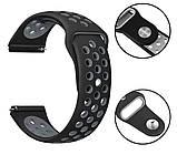 Спортивний ремінець Primolux Perfor Sport з перфорацією для годин Samsung Galaxy Watch 46mm - Black&Grey, фото 3