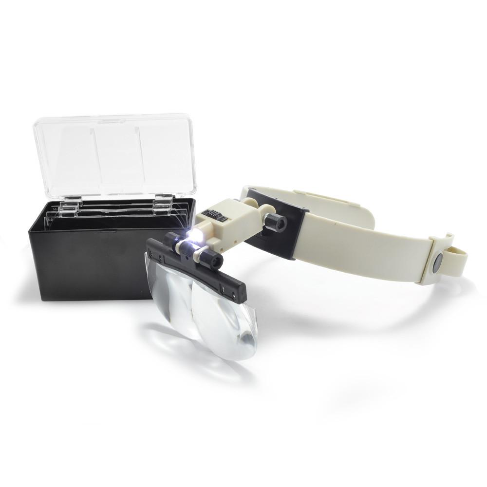 Бинокулярные лупы очки MG81002 со сменными линзами и подсветкой 1.2X 1.8X 2.5X 3.5X