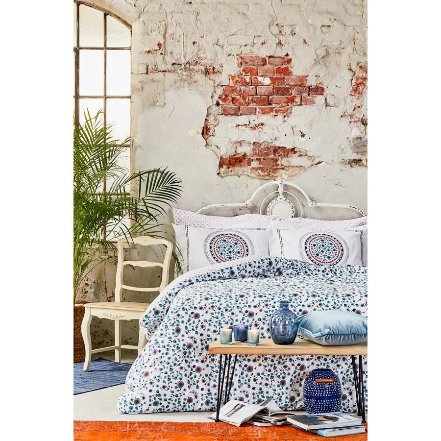 Постільна білизна Karaca Home ранфорс - Mai lacivert 2020-2 синій євро
