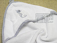 Качественное 95*95 детское махровое полотенце уголок с капюшоном уголком для купания малышей 4798 Белый Б