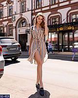 Стильное летнее женское платье-рубашка в полоску ткань лен арт 3404