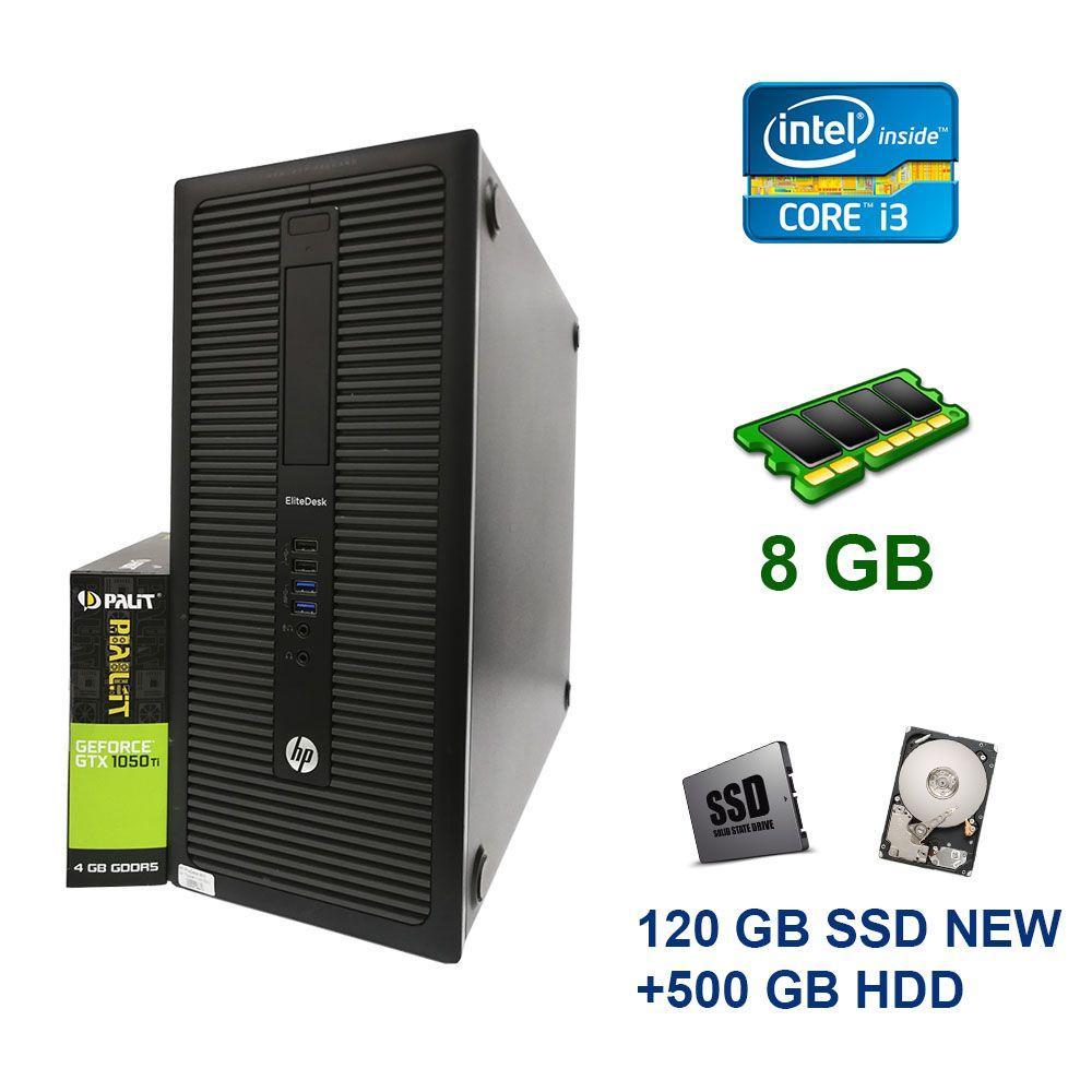 HP EliteDesk 800 G1 Tower / Intel Сore i3-4130 (2 (4) ядра по 3.4 GHz) / 8 GB DDR3 / 120 GB SSD NEW+500 GB HDD / nVidia GeForce GTX 1050 Ti, 4 GB