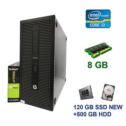 HP EliteDesk 800 G1 Tower / Intel Сore i3-4130 (2 (4) ядра по 3.4 GHz) / 8 GB DDR3 / 120 GB SSD NEW+500 GB HDD / nVidia GeForce GTX 1050 Ti, 4 GB, фото 2
