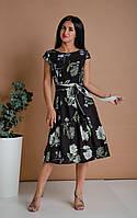 Элегантное летнее практичное платье из штапеля с крупными цветами черное 44,46,48,50,52