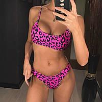 Женский раздельный купальник бразильское бикини с леопардовым принтом малиновый L