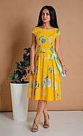 Яркое желтое летнее платье для молодых женщин в деловом стиле 44,46,48,50,52