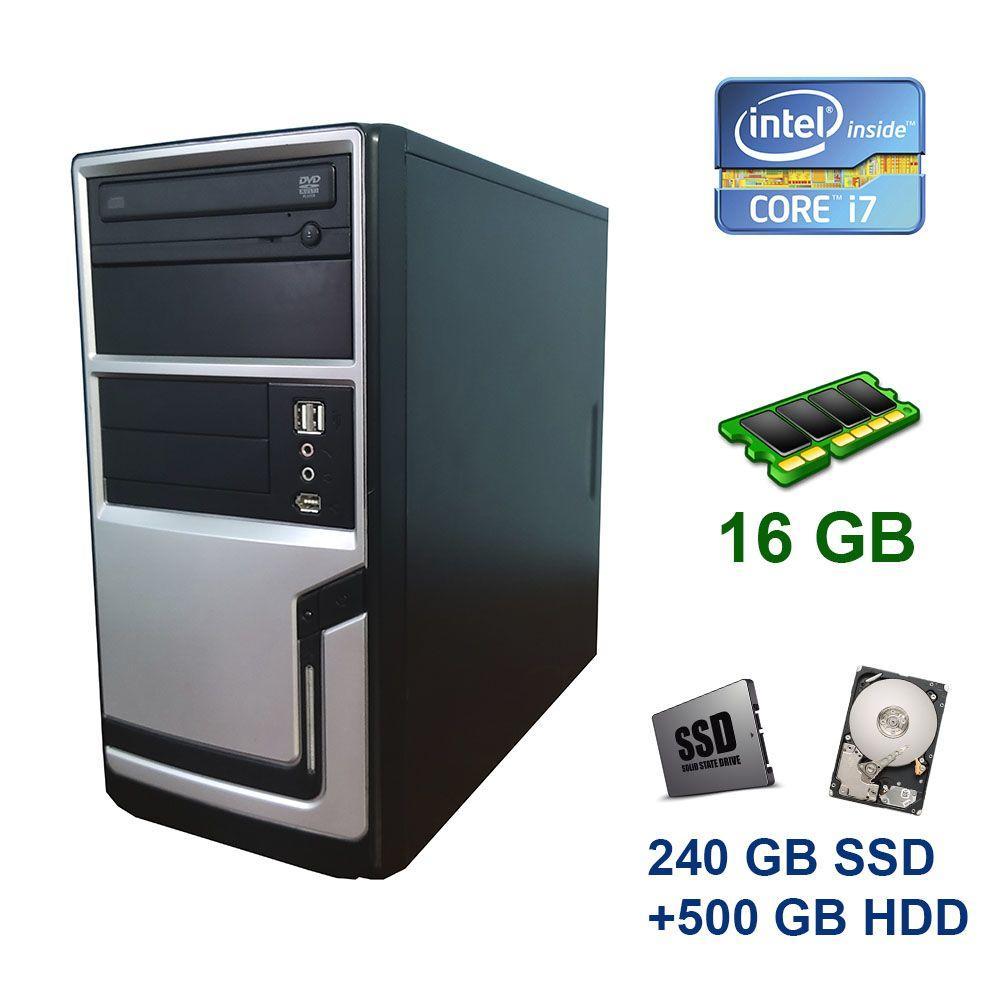 Hyundai Silver Tower / Intel Core i7-3770 (4 (8) ядра по 3.4 - 3.9 GHz) / 16 GB DDR3 / 240 GB SSD+500 GB HDD / nVidia GeForce GTX 1060, 3 GB GDDR5,