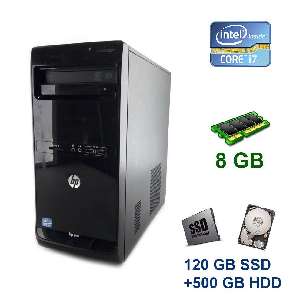 HP Pro 3500 Tower / Intel Core i7-3770 (4 (8) ядра по 3.4 - 3.9 GHz) / 8 GB DDR3 / 120 GB SSD+500 GB HDD