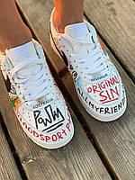 Кроссовки Nike Air Force Pauly Vlone Pop (Найк Аир Форс 1 белые низкие с надписями) мужские и женские размеры