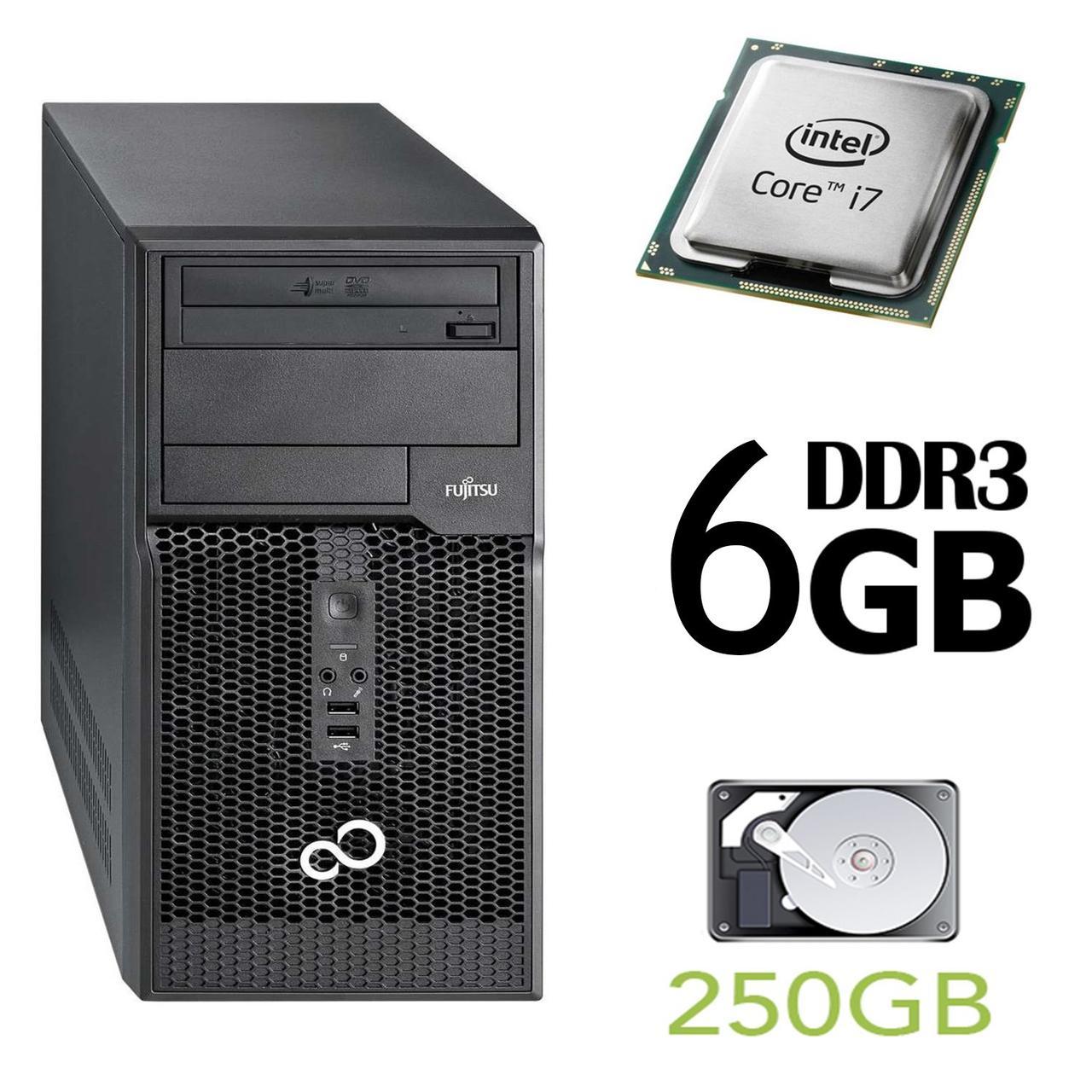 Fujitsu p510 Tower / Intel Core i7-2600 (4(8) ядра по 3.4-3.8GHz) / 6GB DDR3 / 250GB HDD