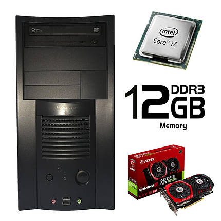 ATX  / Intel Core i7-2600 (4 ядра, 8 потоков, 3.4-3.8 GHz) / 500 GB HDD / 12 GB DDR3 / Palit GeForce GT 1050 Ti 4 GB GDDR5 (HDMI, DVI, DP) / FSP 400W, фото 2