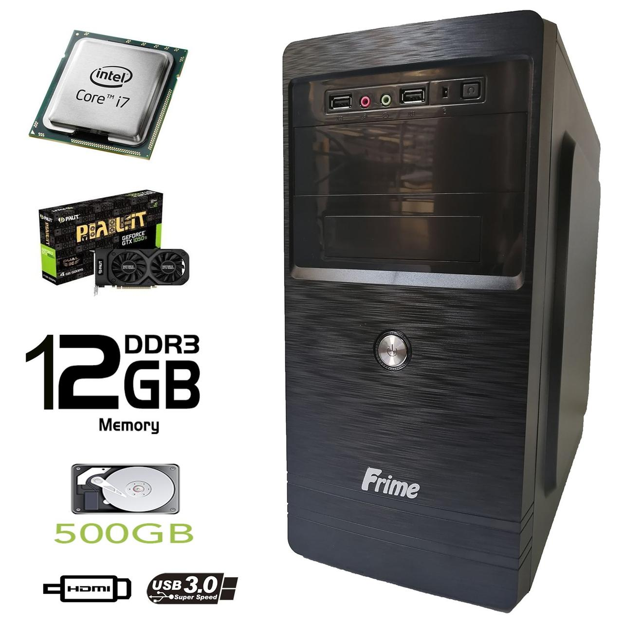 Frime Tower / Intel Core i7-3770 (4(8) ядер по 3.4-3.9GHz) / 12 GB DDR3 / 500 GB HDD / Palit GeForce GTX 1050 Ti 4 GB GDDR5 (HDMI, DVI, DP) / FSP 400W