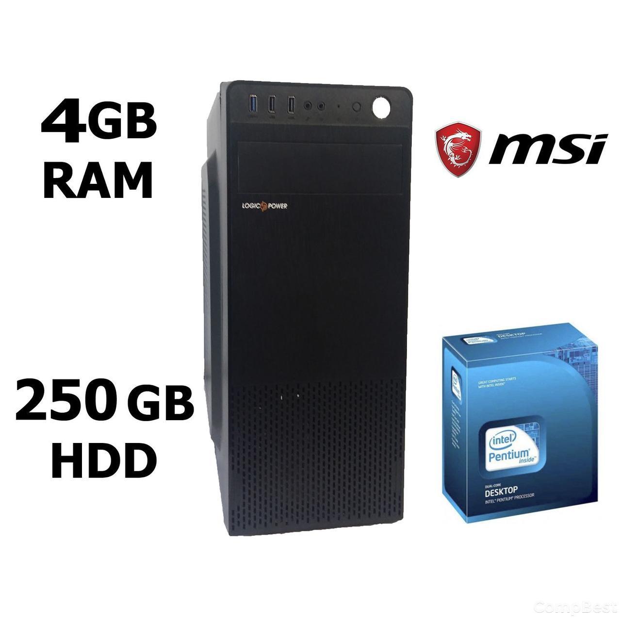 MSI MiniTower / Intel® Pentium® G2030 (2 ядра по 3.00 GHz) / 4 GB DDR3 / 250 GB HDD / Блок питания 400 Ватт