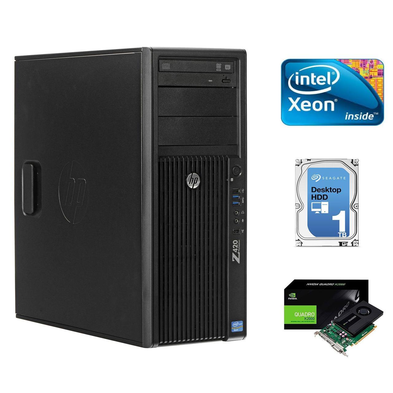 Hewlett-Packard Z420 Workstation / Intel Xeon E5-1650 / 4GB DDR3 / 1000 ГБ HDD / NVIDIA Quadro K2000 2 GB GDDR5 128-bit Graphics