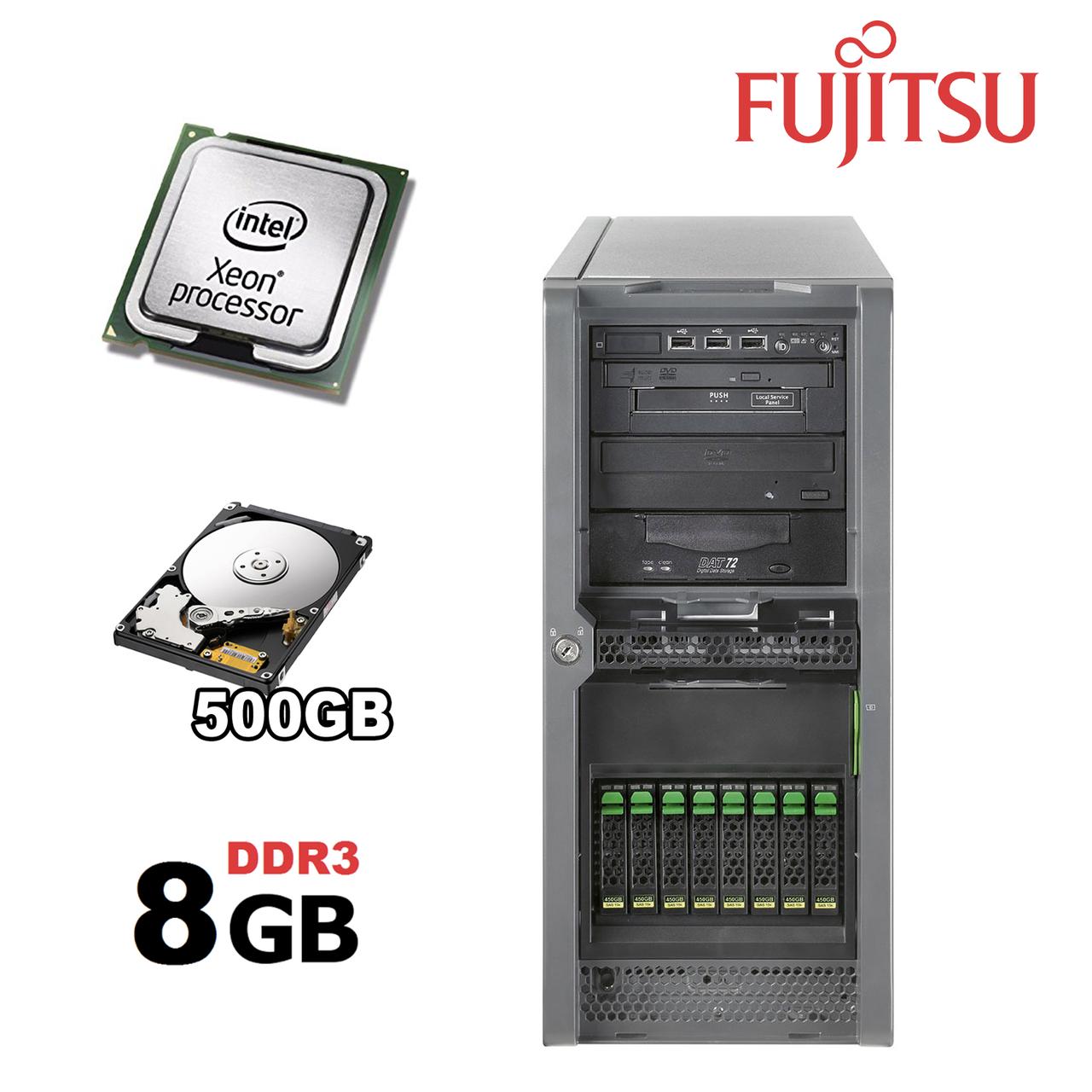 Сервер Fujitsu PRIMERGY TX150 S7/ Intel Xeon X3430 (4 ядра по 2,4 - 2,8 GHz) / 8 GB DDR3/ 500 GB HDD/ Chipset Intel® 3420 ( 6 слотов под память ) /