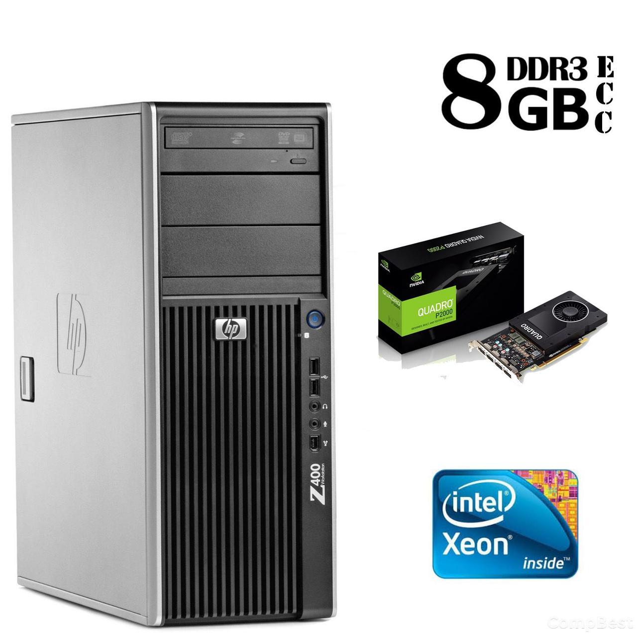 Сервер HP Z400 Tower / Intel Xeon W3565 (4 (8) ядра по 3,20 - 3.46 GHz) / 8GB DDR3/ 1TB HDD / NVIDIA Quadro 2000 1GB DDR5 (128 bit)