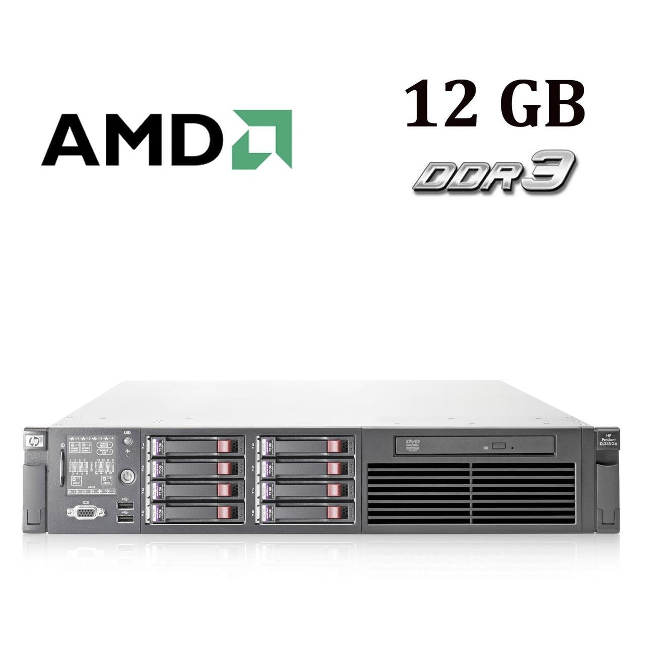 HP Proliant DL385 G6 2U / AMD Opteron 2431 (6 ядер по 2.40 GHz) / 12 GB DDR3 / No HDD